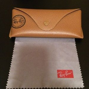 Ray-Ban Sunglasses Case/Lens Cleaning Cloth-Brown